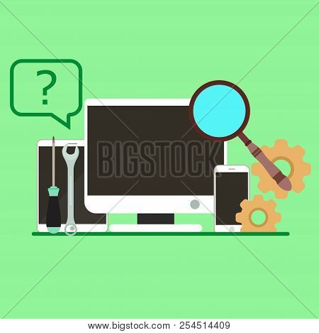 Service Customer Support Icon. Business Vector Office Repair Help Isolated Technology Computer. Oper