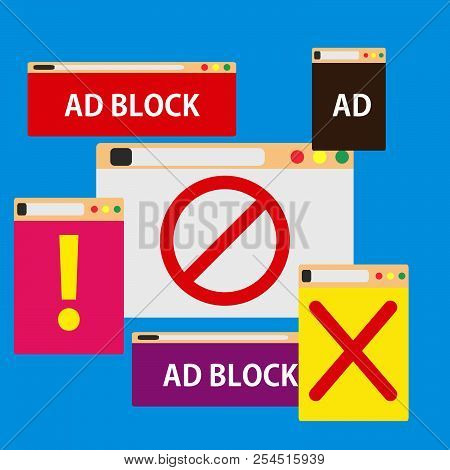Ad Block Popup Illustration Symbol Color. Promotion Advertisement Isolated Screen Commercial Style.