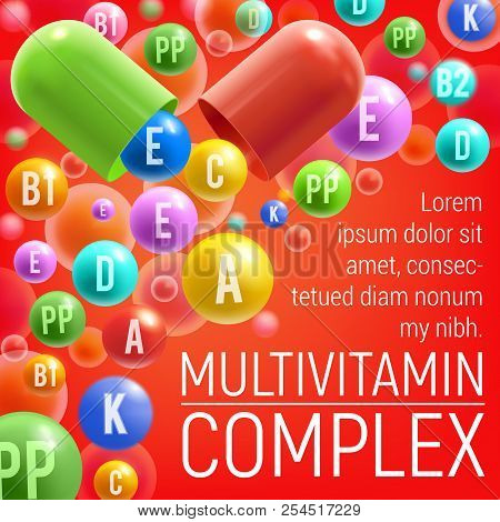 Multivitamin Complex Poster Of Vitamins And Minerals For Healthy Life Or Medical Dietary Supplement