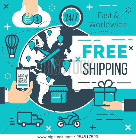 Free Shipping Poster For Online Shopping Delivery Service. Vector Thin Line Design Of Internet Store