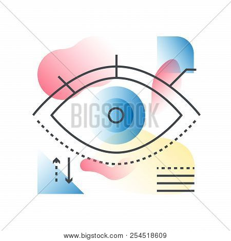 Modern Vision Eye Vector Concept In Trendy Line With Gradient Flat Color.