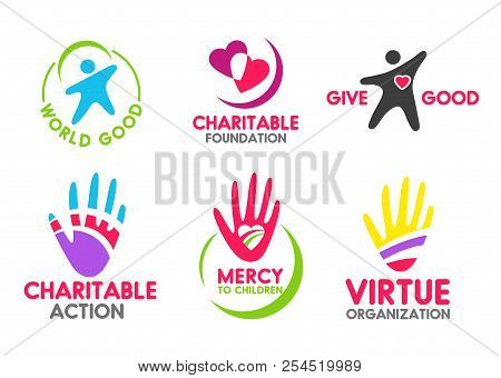 Charity Icons Of People Red Heart And Helping Hand For Mercy And Donation Organization. Vector Symbo