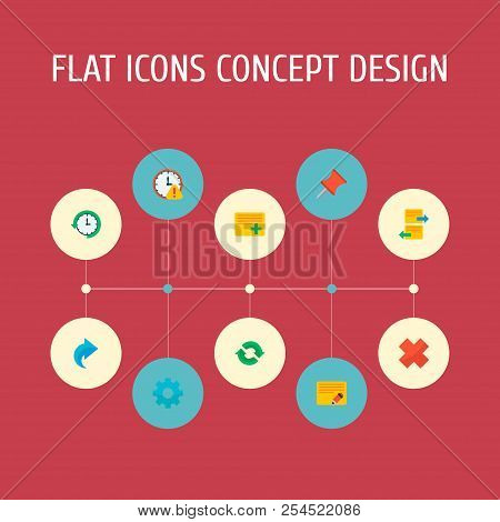 Set Of Project Icons Flat Style Symbols With Redo, Edit Task, Arrange Task And Other Icons For Your
