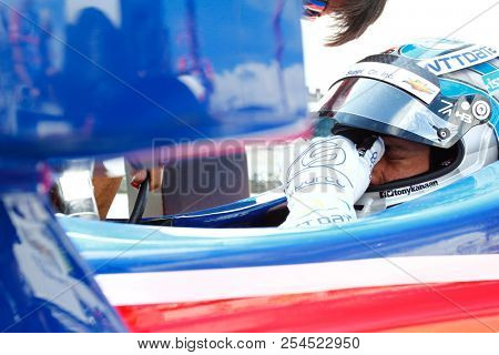 August 18, 2018 - Long Pond, Pennsylvania, USA: TONY KANAAN (14) of Brazil hangs out on pit road prior to qualifying for the ABC Supply 500 at Pocono Raceway in Long Pond, Pennsylvania.