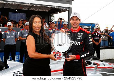 August 18, 2018 - Long Pond, Pennsylvania, USA: WILL POWER (12) of Australia wins the pole award for the ABC Supply 500 at Pocono Raceway in Long Pond, Pennsylvania.