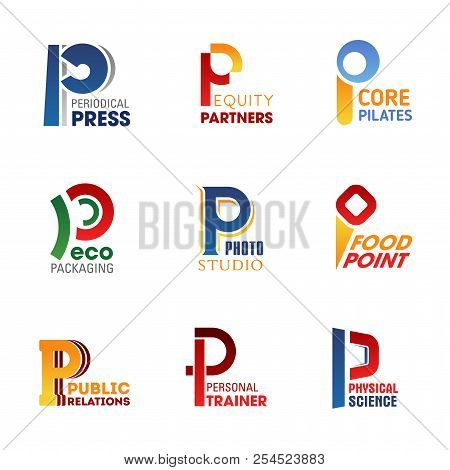 Letter P Icons For Company Corporate Identity In Press Media, Business Or Sport And Food Industry. V