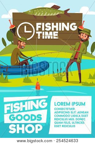 Fishing Goods Shop Or Store Poster Of Fisher Men With Rod In Rubber Boat At Lake Or River. Vector Ca
