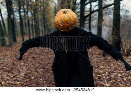 A terrible creature in the autumn forest in the evening. Happy Halloween. Pumpkin head. Man with a pumpkin on his head and a black cloak. poster