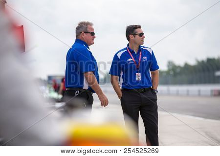 August 18, 2018 - Long Pond, Pennsylvania, USA: \{persons}i\ hangs out on pit road prior to practice for the ABC Supply 500 at Pocono Raceway in Long Pond, Pennsylvania.