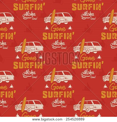 Surfing Car Pattern. Vintage Hand Drawn Surf Wagon With Surfboard Pattern. Aloha Time Quote Typograp