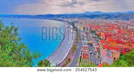 View Of Nice City, Beach At Sunset, Promenade Des Anglais, Cote D'azur, French Riviera, Mediterranea