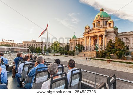 Belgrade, Serbia Jun 5, 2018 - Tourists Looking At The Parliament Building While Traveling With Belg
