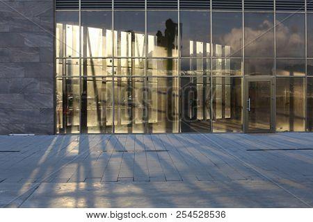 Glass window architecture build background. Empty shop window.