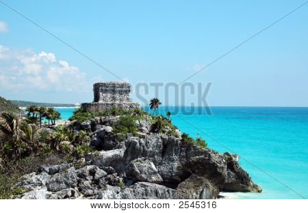 Ancient Mayan Watch Tower On The Coast