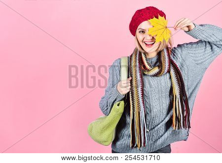 Autumn Mood. Autumn Time. Woman Hides Eye By Yellow Leaf. Woman With Autumn Yellow Maple Leaf. Autum