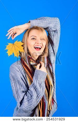 Autumn Mood. Autumn Time. Smiling Woman With Yellow Leaf. Yellow Maple Leaf. Autumn Fashion. Smiling