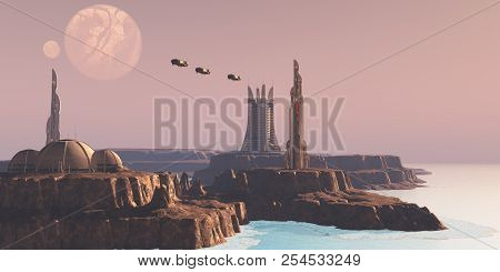 Astral Sector Planet 3d Illustration - Shuttles Take People To Different Buildings On An Alien World