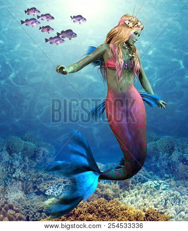 Coral Reef Mermaid 3d Illustration - A School Of Blue Rockfish Swim Along Side Of A Beautiful Mermai