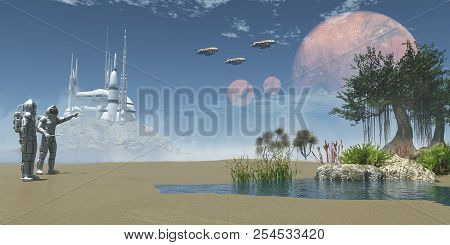 Environment On Exoplanet 3d Illustration - A Man In A Space Suit Points To Three Spaceships Taking O