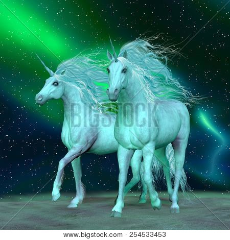 Northern Lights Unicorns 3d Illustration - The Unicorn Is A Mythical Creature That Has A Horse Body