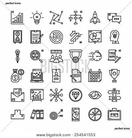 Business Outline Icons Perfect Pixel. Use For Website, Template,package, Platform. Concept Business