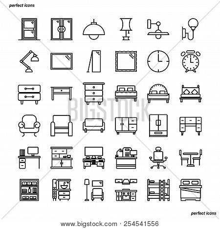 Furniture And Home Decoration Outline Icons Perfect Pixel. Use For Website, Template,package, Platfo