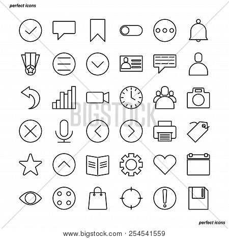 Essential Outline Icons Perfect Pixel. Use For Website, Template,package, Platform. Concept Business