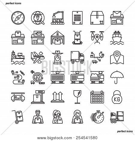 Logistics Outline Icons Perfect Pixel. Use For Website, Template,package, Platform. Concept Business