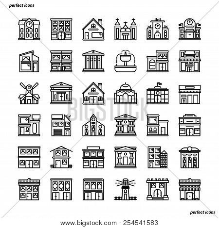 Real Estate Outline Icons Perfect Pixel. Use For Website, Template,package, Platform. Concept Busine