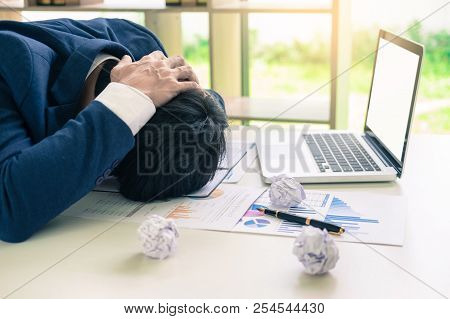 Depressed Failure And Tired Businessman Late Sad And Solving Problem In Office. In Meeting Room. Str