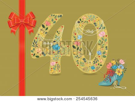 Yellow Number Forty With Folk Floral Decor. Pearl Collar With Texts As Pendants - Birthday Party. Re