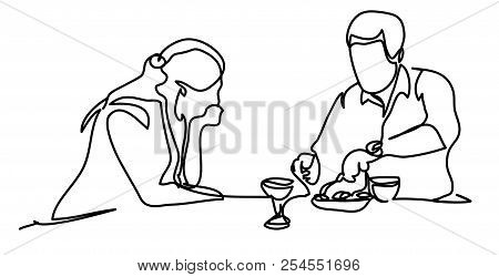 Wife Watching Her Husband Prepare Dinner In The Kitchen. Professional Vector Illustration Isolated O