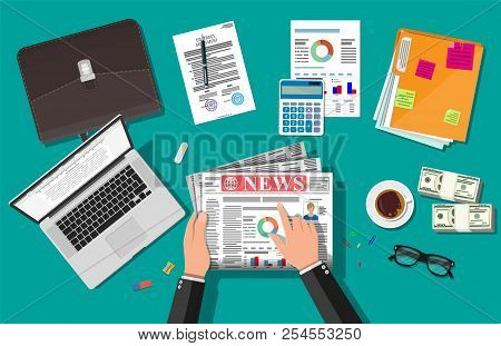 Businessman Reading Daily Newspaper. News Journal Design. Pages With Various Headlines, Images, Quot