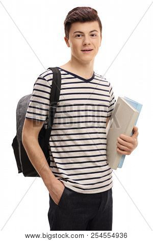 Teenage student with a backpack and books isolated on white background