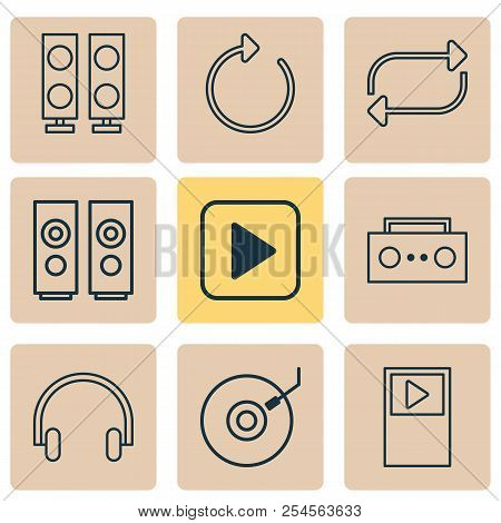 Music Icons Set With Musical Device, Dj Disc, Repeat And Other Reload Elements. Isolated Vector Illu