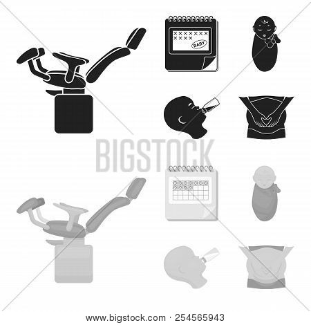 Calendar, Newborn, Stomach Massage, Artificial Feeding. Pregnancy Set Collection Icons In Black, Mon