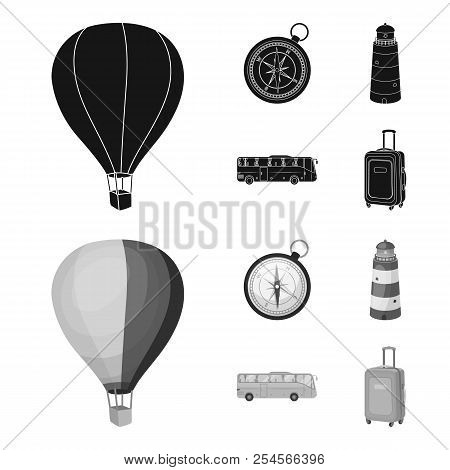 Vacation, Travel, Lighthouse, Compass .rest And Travel Set Collection Icons In Black, Monochrome Sty