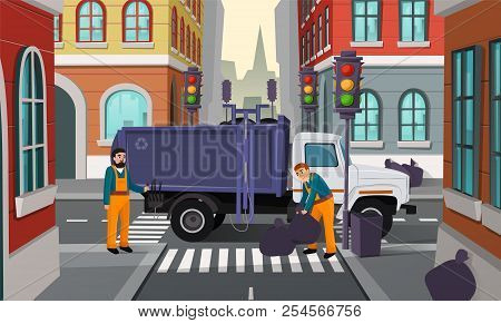 Vector Cartoon Illustration Of City Crossroad With Traffic Lights, Garbage Truck And Workers Pick Up