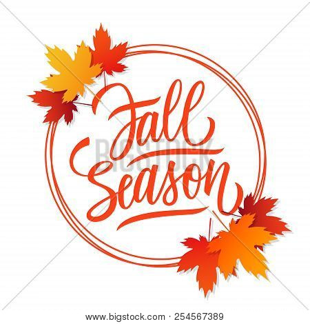 Fall Season Card Design With Bright Autumn Leaves, Circles And Hand Drawn Lettering. Autumn Seasonal