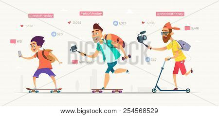 People raid on skateboards or scooters and shooting video blogs. Collection of active bloggers characters . Modern vector cartoon illustration poster