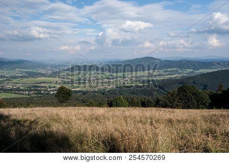 View From Mala Kycera Hill In Moravskoslezske Beskydy Mountains In Czech Republic With Rural Scene W