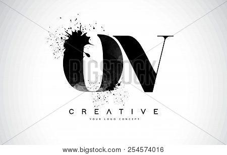 Ov O V Letter Logo Design With Black Ink Watercolor Splash Spill Vector Illustration.