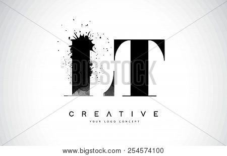 Lt L T Letter Logo Design With Black Ink Watercolor Splash Spill Vector Illustration.