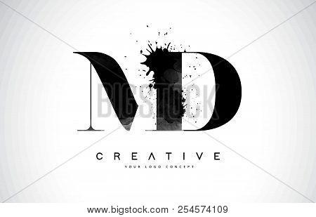 Md M D Letter Logo Design With Black Ink Watercolor Splash Spill Vector Illustration.