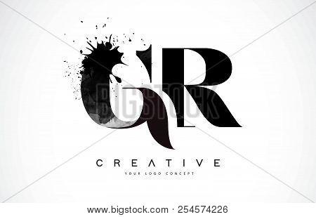 Gr G R Letter Logo Design With Black Ink Watercolor Splash Spill Vector Illustration.