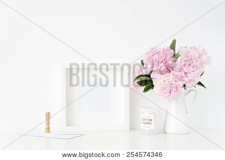 Summer White Square Blank Poster Mockup. Still Life Composition, Cute Bouquet Of Pink Peonies In Jug
