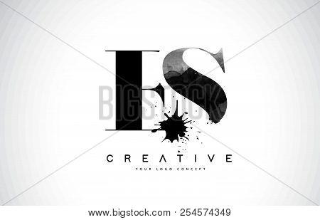 Es E S Letter Logo Design With Black Ink Watercolor Splash Spill Vector Illustration.