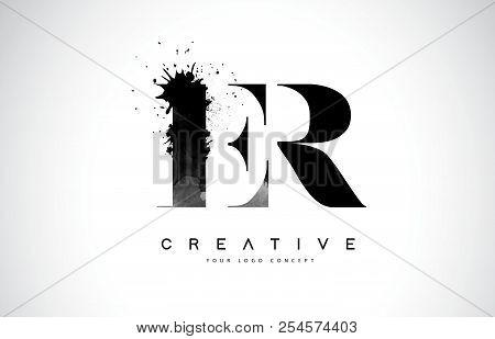 Er E R Letter Logo Design With Black Ink Watercolor Splash Spill Vector Illustration.