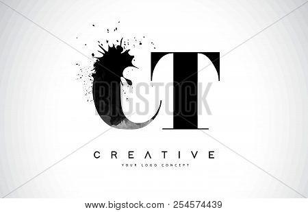 Ct C T Letter Logo Design With Black Ink Watercolor Splash Spill Vector Illustration.