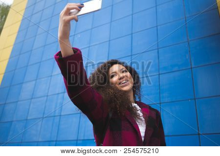 Cheert Selfie Time Young Happy Lady In A Spring Vacation, Walking In The City, Drinking Coffee, Phot